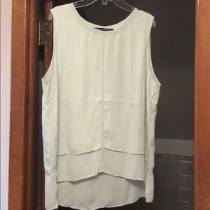 Mint Green Tank Top Rose and Olive Size Large